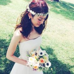 「 かすみ草の花かんむり 」の画像|Satomi no sonogo|Ameba (アメーバ) Flower Crown Wedding, Wedding Hair Flowers, Flowers In Hair, Wedding Bouquets, Hair Design For Wedding, Boho Wedding, Dress Hairstyles, Bride Hairstyles, Wedding Images