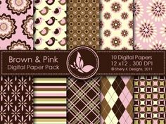 Brown & Pink Digital Paper Pack