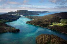 Morgallón e illa de San Martiño, Río Sor. O Vicedo á dereita e O Barqueiro á esquerda. — en O Vicedo, Lugo.