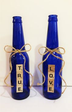 Beautiful Cobalt Blue Nautical Beach Cottage Rustic Bottle Scrabble Tiles TRUE LOVE Set Wedding Centerpiece Bride Groom Jute String Vase by AdorablySBoutique
