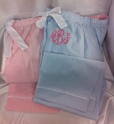 Seersucker lounge PJ pajama pants pin stripe by CustomThreadsShop, $27.00