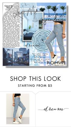 """""""Contest: High Waist Ripped Denim Pant"""" by eve027 ❤ liked on Polyvore featuring WALL"""