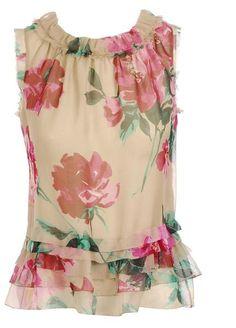 Floral Printed Silk Blouse D & G