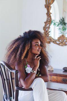 Sunita V || Dark skin. Brown skin. sun kissed. natural hair. frizzy hair. afro hair. natural hair with highlights. natural hair and color. long afro hair. long natural hair. kinky curly hair. thick natural hair. beauty.