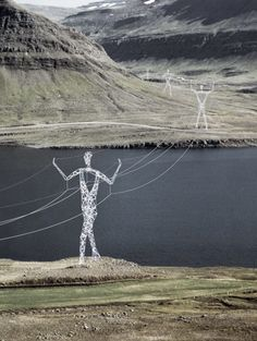 "Creative electricity towers designed by Choi+Shine architects look like giant people that hold overhead power lines.      If the project gets approved, existing transmission towers in Iceland will be modified and transformed into male and female statues.    Modular design will help minimize construction and maintenance costs.    Beautiful pylon figures will become monuments in the ""Land of Giants"""