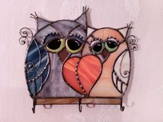 Stained glass Owl. Stained glass key hanger . Stained by mamichka