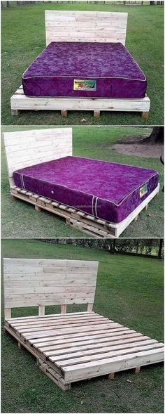 Bed is one of the furniture pieces which are expensive, but we can solve this issue if someone can't afford to buy a new bed. Take the pallets and reuse them by restyling them into a reclaimed wood pallet bed. Pallet Furniture Instructions, Pallet Furniture Easy, Wood Pallet Beds, Pallet Shelves, Reclaimed Wood Furniture, Home Furniture, Furniture Ideas, Furniture Showroom, Pallet Boards