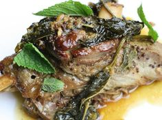 Fall-Apart Lamb Shanks Braised with Mustard and Mint - we made this with lamb chops. That sauce is sooooo good!