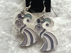 Porcelain Swirl Dangle Drop Earrings, Lavender or Pink and White - pinned by pin4etsy.com