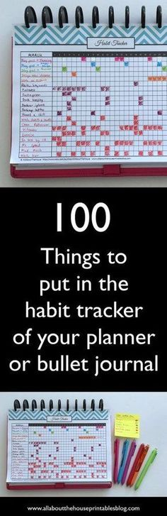 100 things to put in your habit tracker of your planner or bullet journal (plus free printable habit tracker How to use a habit tracker for your planner or bullet journal ideas list bujo planner inspiration organization time management Bujo Planner, To Do Planner, Passion Planner, Life Planner, Happy Planner, Planner Journal, Planner Diy, Project Planner, House Planner