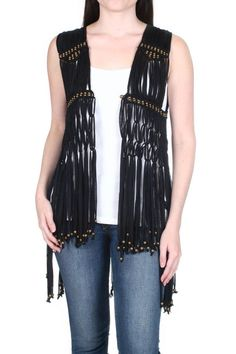 "Black knotted fringe vest that is semi-sheer.    Measures: 25"" front; 36"" back    Knotted Fringe Vest by Elan. Clothing - Jackets, Coats & Blazers - Vests New York City"