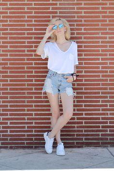 Liz Benichou - Polette Reflection Shades, Aritzia White V Neck, Levi's® High Waisted Denim Shorts, Adidas Stan Smith Sneakers - Normcore