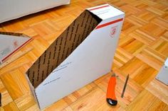 DIY Paper Containers From Cardboard Box: Today, I made use of post office cardboard boxes and patterned duct tape Paper Storage 12x12, Craft Room Storage, Diy Storage, Cardboard Box Diy, Diy And Crafts, Paper Crafts, Office Supply Organization, Diy Box, Container