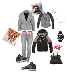 """""""How to wear Jordan's.."""" by loveso on Polyvore featuring Hollister Co., Paige Denim, Louis Vuitton, Salvatore Ferragamo, Betsey Johnson, Balmain and Mad Collections"""