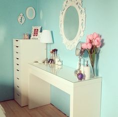LOVE the idea of painting the walls a beautiful color I love to offset all of the white furniture ♥