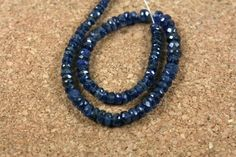 Kyanite Faceted Rondelle Beads  Dark Blue Graduated by ABOSBeads