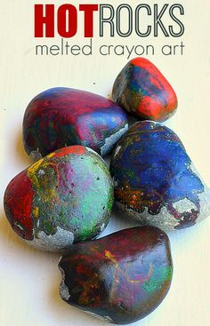 melted crayon on rocks art project for kids