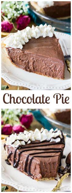 Chocolate Pie via @sugarspunrun