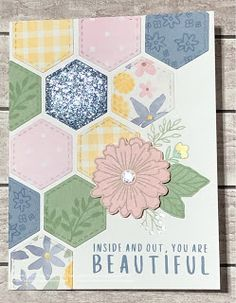 Hexagon Cards, Monochromatic Color Scheme, Sympathy Cards, Close To My Heart, My Stamp, Flower Cards, Creative Cards, Cardmaking, 3 D
