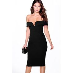 Boohoo Night Lara Off The Shoulder Seam Detail Midi Dress ($35) ❤ liked on Polyvore featuring dresses, black, cocktail party dress, black slip dress, sequin cocktail dresses, black tuxedo and black midi dress