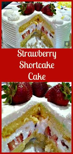 Strawberry Shortcake Cake. A wonderful refreshing cake packed with strawberries and a whipped cream frosting.
