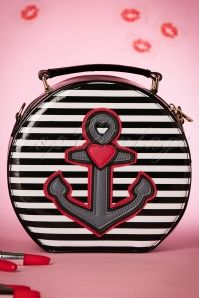 50s Viva Anchor Bag in Black and White Stripes