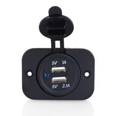 Universal Dual USB Car Cigarette Lighter Socket Splitter 12V Mobilephone Charger Power Adapter Outlet Parts Auto Black