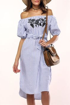 $11.11 Sweet Off-The-Shoulder Floral Embroidered Striped Women's Dress