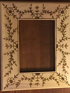 Woodburned picture frame  Original artwork by Rebecca Lipsker