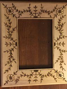 Woodburned picture frame  Original artwork by Rebecca Lipsker