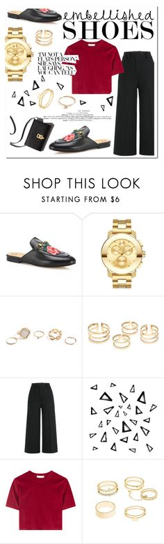 """Gucci Embelished Loafers"" by dchatzin ❤ liked on Polyvore featuring Gucci, Movado, GUESS, Jil Sander, Nika, Charlotte Russe, GetTheLook, retro, gucci and embellishedshoes"