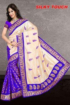 Blue Silk Saree Bhagalpuri Sarees on Shimply.com