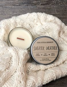 🧣⛄️ BABY IT'S COLD OUTSIDE ⛄️🧣Sweater Weather |  Juniper + Sage + Eucalyptus + Spearmint Scented 3.5oz. Candle | Small Holiday Gift | Christmas Spirit | Winter Solstice | www.sidehustleserenity.etsy.com