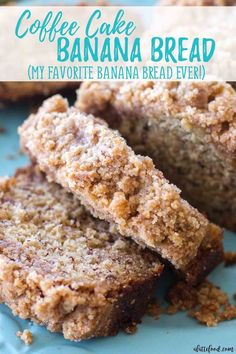 This coffee cake banana bread is a combination of a classic banana bread recipe .This coffee cake banana bread is a combination of a classic banana bread recipe mixed with a homemade coffee cake recipe! It's like a quick bread meets coffee cake, a Easy Bread Recipes, Banana Bread Recipes, Banana Bread Recipe With Pudding, Fall Cake Recipes, Dinner Recipes, Frozen Banana Bread Recipe, Recipe For Banana Cake, Banana Recipes Easy Healthy, Recipes For Bananas