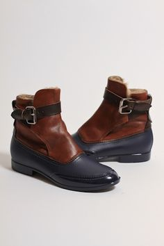 VIVIENNE WESTWOOD Faux Fur Lined Pirate Strap Boots in Blue - FOOTWEAR from Autograph UK (£300) - Svpply