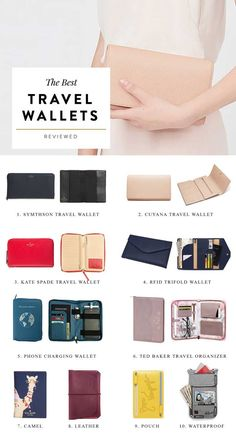 The Best Travel Wallets Reviewed including passport holder, rfid, waterproof, leather, zip around, phone charging, etc from Smythson, Kate Spade, Cuyana and more