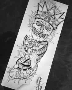 Skull Tattoo Design, Tattoo Design Drawings, Skull Tattoos, Tattoo Sketches, Leg Tattoos, Drawing Sketches, Tattoos For Guys, Half Sleeve Tattoos Designs, Half Sleeve Tattoos Drawings