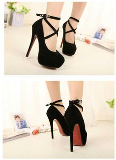 Women's Suede Ankle Strap Buckle Stiletto Shoes
