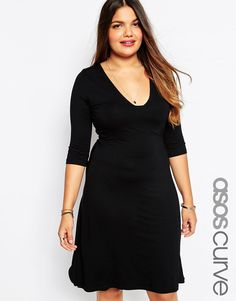 Image 1 of ASOS CURVE Midi Skater Dress with Sexy Square Neck