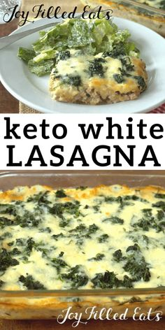 Lazy White Lasagna - Low Carb, Keto, THM S, Gluten Free This Lazy White Lasagna is inspired by the Lazy Lasagna in the THM Cookbook. It uses spinach instead of noodles Ketogenic Recipes, Low Carb Recipes, Diet Recipes, Cooking Recipes, Healthy Recipes, Dessert Recipes, Primal Recipes, Paleo Meals, Flour Recipes