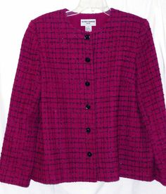 ALFRED DUNNER 12P 12 Petite Purple Black jacket Blazer elegant Career Womans #AlfredDunner #Blazer