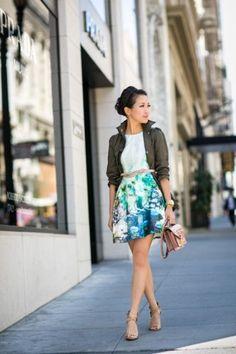Floral skirt, utility jacket, tee