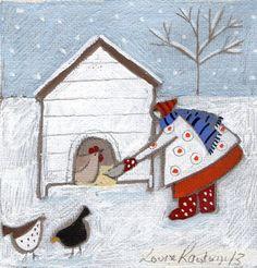 Louise Rawlings Winter Art, Winter Time, Chicken Art, Feather Art, Naive Art, Art Themes, Christmas Art, Art Pictures, Framed Art Prints