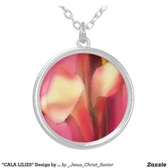 """""""CALA LILIES"""" Design by Carole Tomlinson©2016 Round Pendant Necklace"""