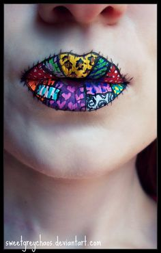 Patchwork Kiss Lips- reminds me of Sally from Nightmare Before Christmas!