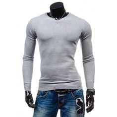 62549bdf4fe7 Štýlový pánsky sveter v sivej farbe - fashionday.eu