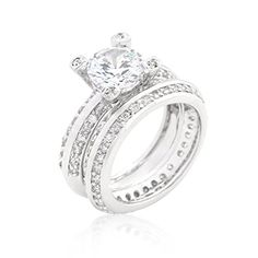 Alexander James Street Silvertone Clear Cubic Zirconia Set Cocktail Ring Size 10 *** You can get more details by clicking on the image.(This is an Amazon affiliate link)