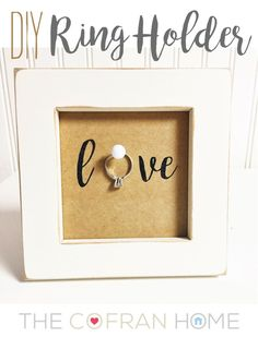 """DIY Ring Holder"" - love this for an engagement gift or pre wedding gift!  www.thecofranhome..."