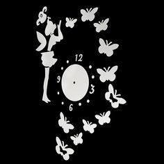 DIY Fairy Butterfly Acrylic Wall Sticker Clock Home Decoration Diy Butterfly Decorations, Mirror Wall Clock, Wall Clock Online, Acrylic Mirror, Wall Sticker, Home And Garden, Fairy, Stickers, Home Decor