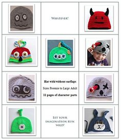 Booklet of Crochet Character Hats pattern by Thomasina Cummings Designs Crochet Beanie, Crochet Hats, Crochet Character Hats, Knitting Patterns, Crochet Patterns, Scrap Busters, Pattern Library, Novelty Gifts, Stitch Markers